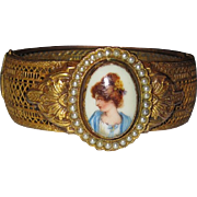 REDUCED Victorian Revival Filigree Painted Porcelain Bracelet
