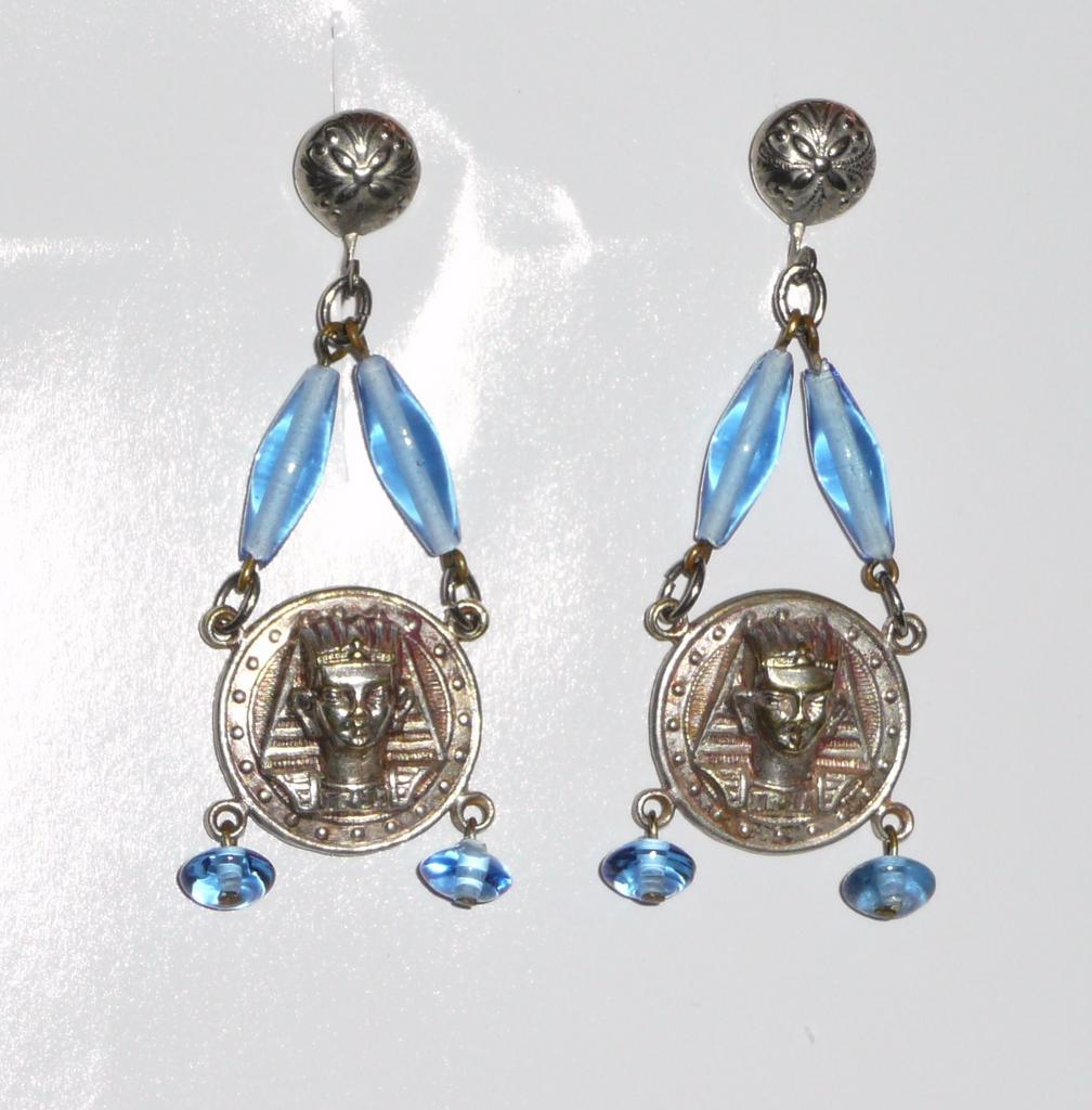 Egyptian Revival Art Deco Drop Earrings