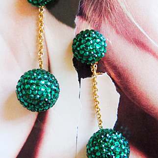 REDUCED Fancy Green Runway Rhinestone Ball Drop Earrings Large