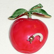 Original by Robert Large Apple Pin with Worm