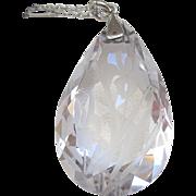 REDUCED Vintage Etched Rock Crystal Irises Pendant