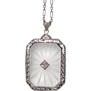 REDUCED 14K Carved Rock Crystal Diamond Pendant