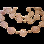REDUCED Art Deco Carved Rose Quartz Rock Crystal Necklace