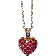 REDUCED Fine Quality Rubies Diamonds 14K Gold Heart Pendant