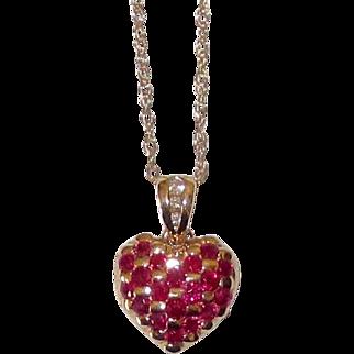 REDUCED Fine Quality Rubies Diamonds 14K Gold Heart Pendant