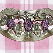 REDUCED Art Nouveau Grapes Motif Sash Pin