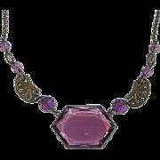 REDUCED Art Deco Purple Glass Choker