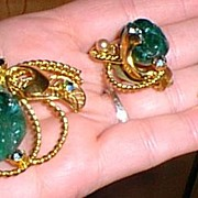 Brooch and Earrings Designer Molded Green Glass
