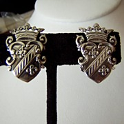 Sterling Crown and Shield Motif Earrings