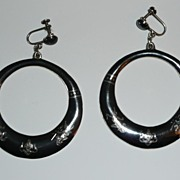 REDUCED Huge Siam Sterling Nielloware Earrings 3 Inches long