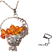REDUCED Silver Basket Amber Beads