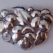 REDUCED Lovely Vintage Sterling Flowers Pin