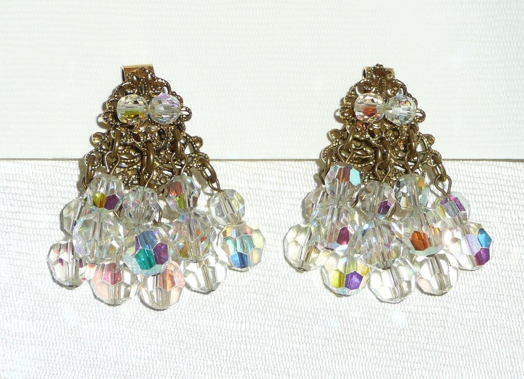 Sparkling Crystal Beads Clip Earrings