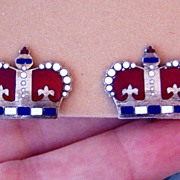 Sterling Enamel Vintage Crown Earrings Red White Blue