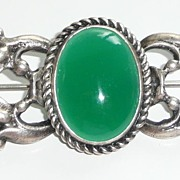 REDUCED Vintage Sterling and Green Stone Brooch