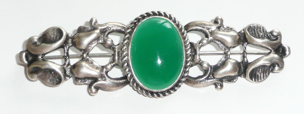 Vintage Sterling and Green Stone Brooch