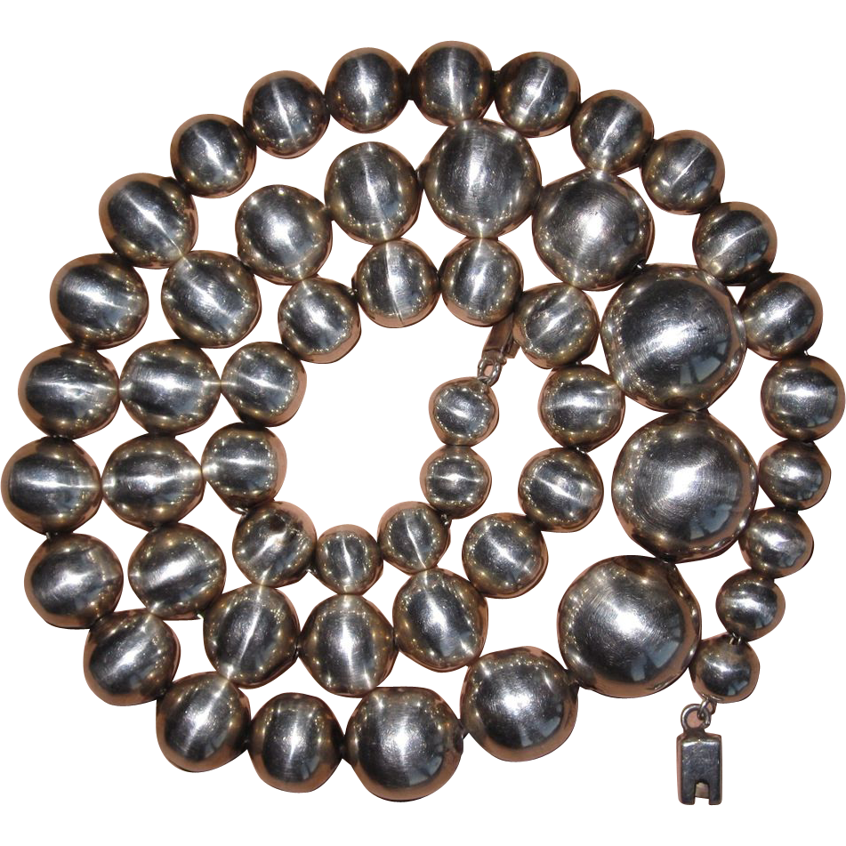 Vintage Sterling Graduated Beads Necklace