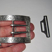 REDUCED Victorian Sterling Belt Buckle with Clasp
