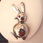 REDUCED Mid Century Modern Sterling Rabbit Brooch