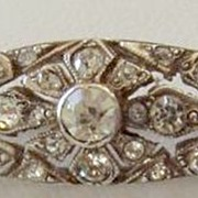 REDUCED Beautiful Vintage Sterling Paste Brooch Bar Pin Perfect for Bride!