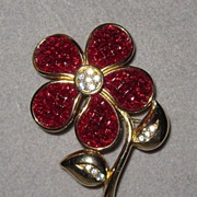 SOLD Red Swarovski Flower Pin Makes a Great Gift!