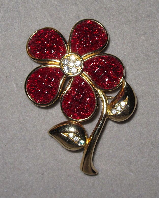 Red Swarovski Flower Pin Makes a Great Gift!