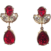 Swarovski Red Red Red Clip Earrings