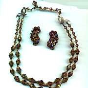 Topaz Crystals Necklace and Earrings