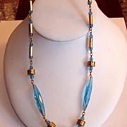 REDUCED Aqua Glass Long Art Deco Beads