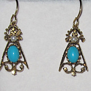 REDUCED Vintage Beautiful Turquoise Pearl Gold fill Earrings