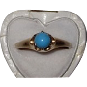 REDUCED Victorian Turquoise Ring  14K Rose Gold