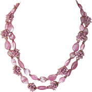 REDUCED Unsigned Fancy Vintage Pink Glass Beads Set
