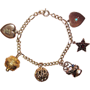 REDUCED Victorian Fob and Charms Charm Bracelet