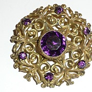 Victorian Gilt Brass Brooch Purple Glass Stone