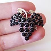 Victorian Rosegold Black Grapes Pin