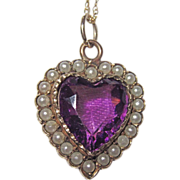 REDUCED Victorian Puffy Heart Charm Seed Pearls Purple