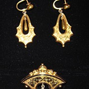 REDUCED Victorian Earrings and Brooch Set