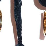 REDUCED Victorian Rose Gold Filled Hoop Earrings Black Enamel