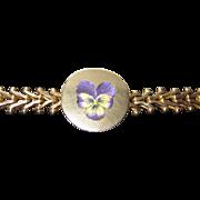 REDUCED Sale Wonderful Victorian Enamel Pansy Gold Filled Bracelet