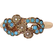 SALE PENDING Victorian Turquoise Cultured Seed Pearls Rose Gold Ring