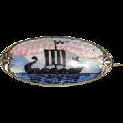 Vintage Norway Viking Ship Enamel Pin