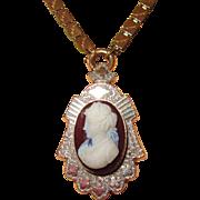 Victorian Hardstone Cameo Pin or Pendant on Bookchain
