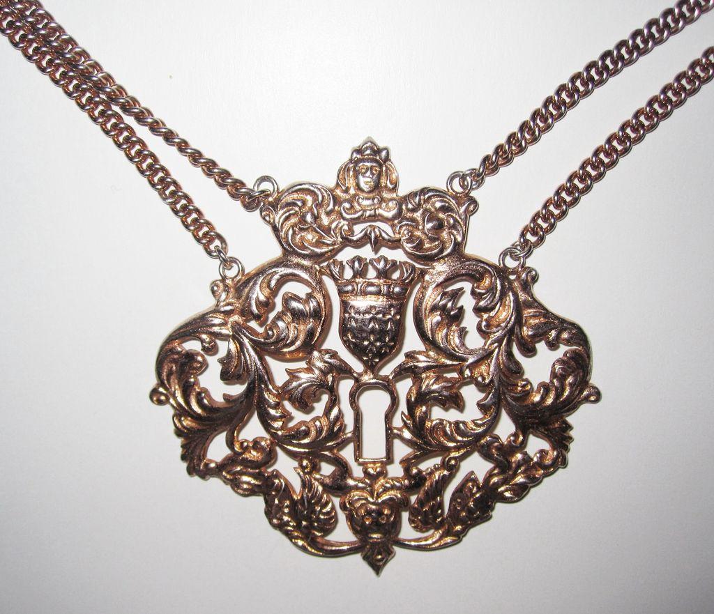 Rare Massive Nettie Rosenstein Sterling Pendant Necklace