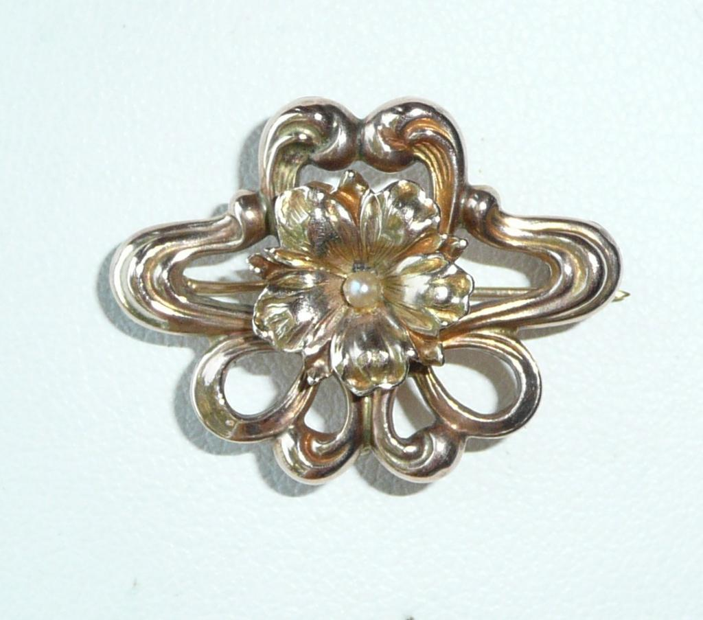 Art Nouveau Gold Pearl Watch Pin