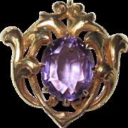 REDUCED Antique Art Nouveau Watch Pin Amethyst