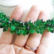 West Germany Plastic Set Green Necklace and Earrings