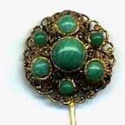 West Germany Glass Filigree Stickpin
