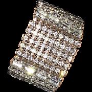 REDUCED Gorgeous Spectacular Wide Sparkling Vintage a Rhinestone Bracelet Fit for a Bride