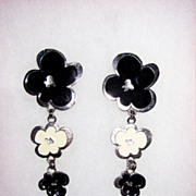 Wild Black and White Enamel Clip Earrings