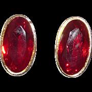 Yves Saint Laurent Bold Pierced Earrings Red Glass